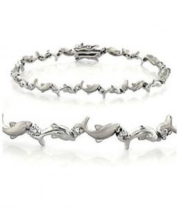 Amazing Silver Bracelet with Dolphins and Swarovsky crystals