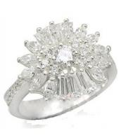 Snow Crystal Sterling Silver Ring