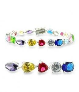 Sterling Silver Bracelet with Multicolored Stones
