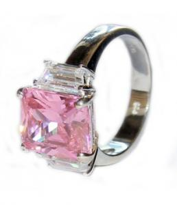 Sterling Silver Ring with Pink Amethyst Stone